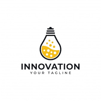 Lampe à ampoule et science de laboratoire, création, création de logo d'innovation