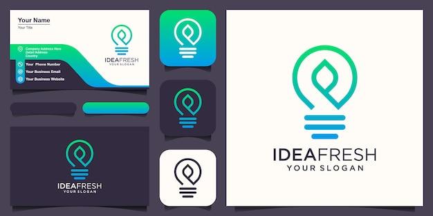 La lampe à ampoule se combine avec le logo de la feuille et le vecteur de conception de carte de visite.