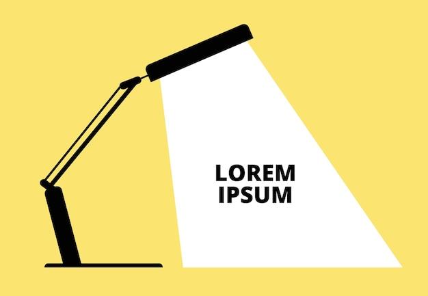 Lampe de bureau de bureau. lampe de table silhouette noire avec rayon sur fond jaune. concept d'entreprise idée créative et invention. table lumineuse de bureau, illustration lumineuse de lampe électrique