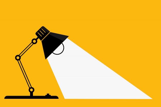 Lampe de bureau et lumières de table. - idées et concept de réflexion. - espace pour votre texte.