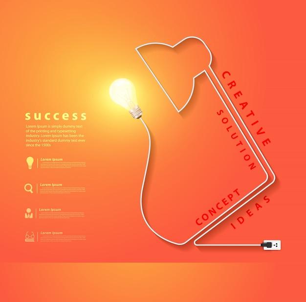 Lampe de bureau de vecteur en forme de cordon électrique