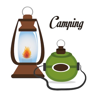 Lampe de camping avec design icône cantine isolée