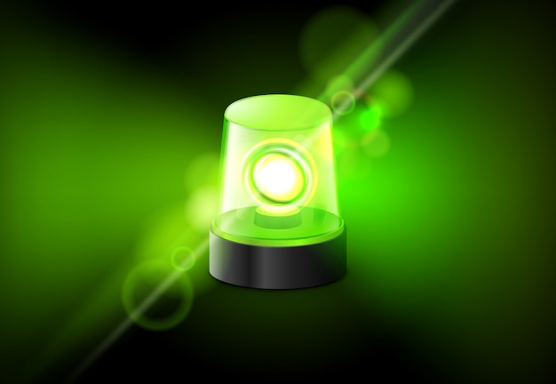 Lampe clignotante sirène verte. fond d'alarme sirène ambulance d'urgence
