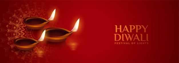 Lampe diya réaliste bannière diwali rouge