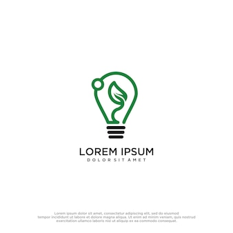 Lampe à feuilles logo design vectoriel tamplat