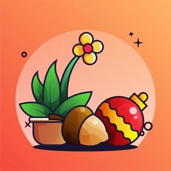 Lampe gland, fleurs, décoration, noël, illustration