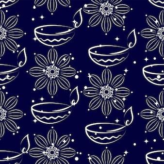 Lampe à huile allumée vectorielle (diya) et fond de motifs floraux.