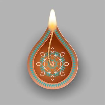 Lampe à huile diwali isolée sur gris