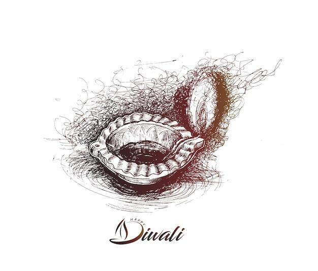 Lampe à huile - diya, festival de diwali, illustration vectorielle de croquis dessinés à la main.