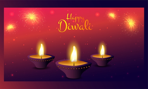 Lampe à huile illuminée (diya) avec feux d'artifice sur l'effet de lumière rouge et violet pour la célébration de happy diwali.