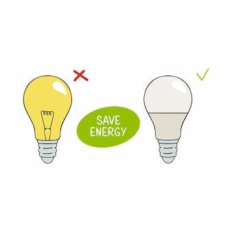 La lampe à incandescence et la lumière led avec l'inscription permettent d'économiser de l'énergie. illustration sur le thème de l'attitude prudente envers la nature et les ressources énergétiques.