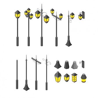 Lampe de jardin assortie isométrique