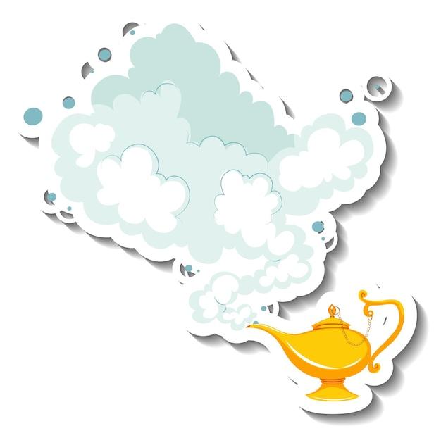 Lampe magique de génie avec autocollant de dessin animé de fumée