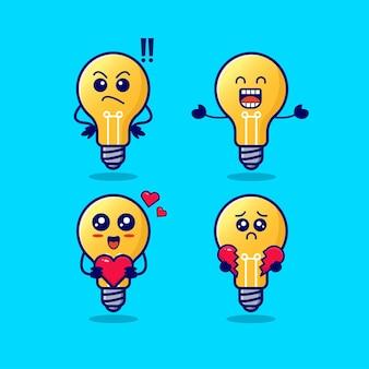 Lampe mignonne avec diverses expressions isolées sur illustration vectorielle fond bleu