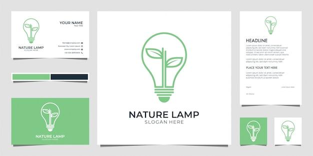 Lampe nature, éclairage, feuille, idée, carte de visite et papier à en-tête de conception de logo créatif