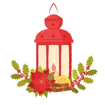 Lampe de noël rouge décorée de branches de houx orange cannelle et fleur de poinsettia