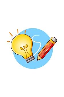Lampe pour idée brillante avec illustration de dessin animé au crayon