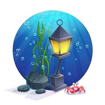 Lampe sous-marine d'image de dessin animé avec des pierres, des algues, du crabe, des bulles. illustration vectorielle