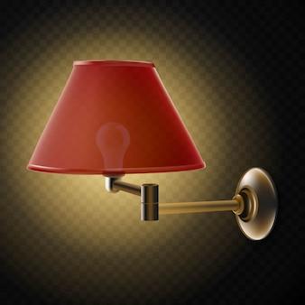Lampe de soutien-gorge rouge sur fond transparent.