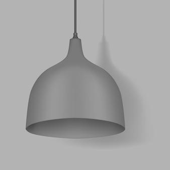Lampe à suspension suspendue. lumière intérieure moderne. lustre avec abat-jour en métal gris. maquette de vecteur