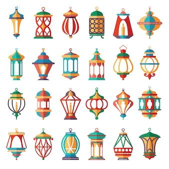 Lampes arabes. collection de couleurs de dessin animé de lanternes islamiques musulmanes anciennes