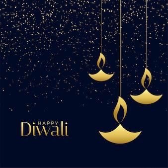Lampes diya suspendues avec des étincelles pour le festival de diwali