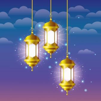 Lampes de ramadan kareem doré suspendus