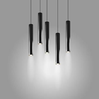 Lampes suspendues en forme de tube long lampe d'intérieur moderne abat-jour lustre