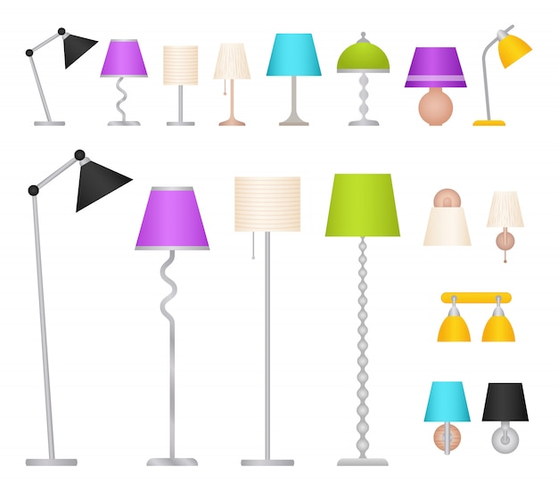 Lampes de table, de sol, murales et de travail,