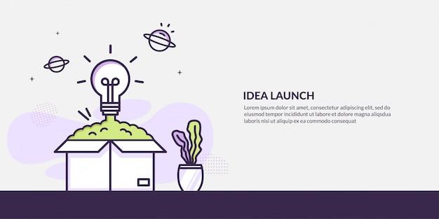 Lancement de l'ampoule de la boîte, démarrage du concept d'idée