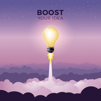 Lancement de l'ampoule comme illustration vectorielle de fusée