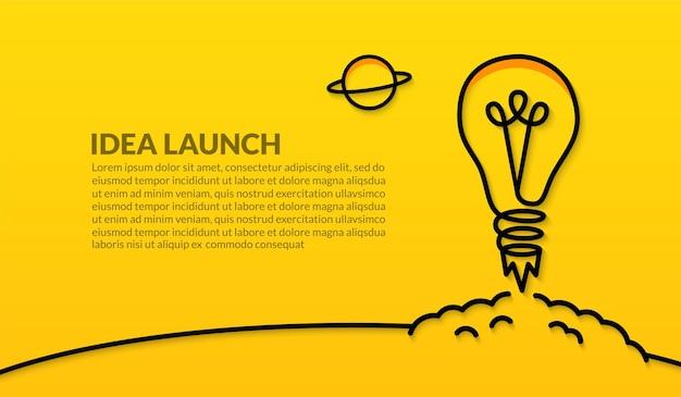 Lancement de l'ampoule dans l'espace sur fond jaune, idées créatives pour le concept de démarrage d'entreprise