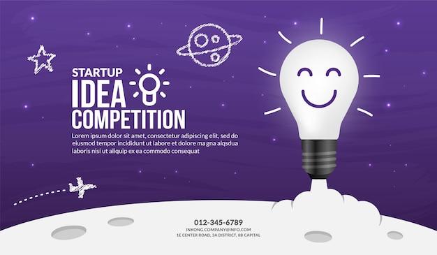 Lancement de l'ampoule sur le fond de l'espace, idée créative pour le concept de démarrage d'entreprise