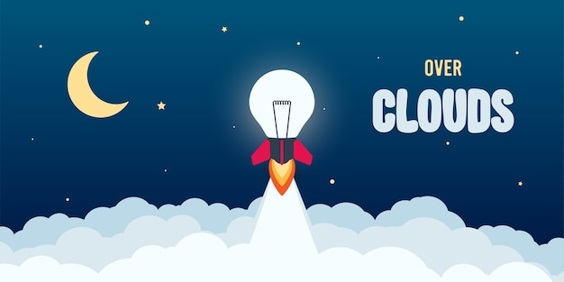 Lancement d'ampoule de fusée dans le ciel volant