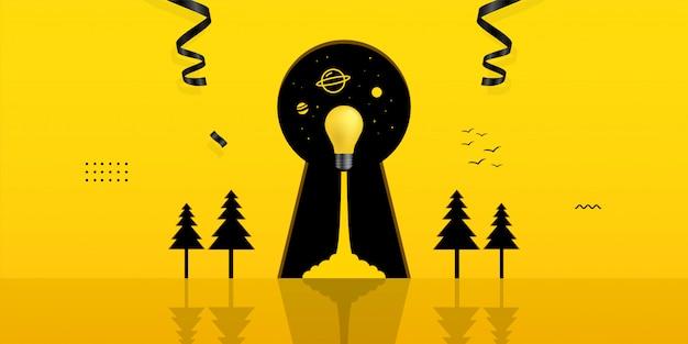 Lancement de l'ampoule à l'intérieur du trou de bouclier sur fond jaune