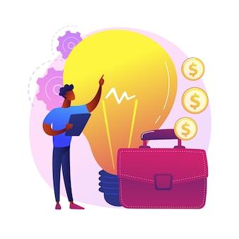 Lancement du projet de démarrage. idées innovantes, homme d'affaires créatif, entreprise rentable. top manager, entrepreneur à succès proposant un business plan