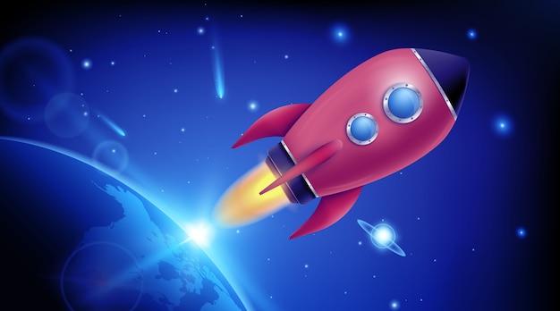 Lancement du vaisseau spatial 3d. exploration de l'espace.