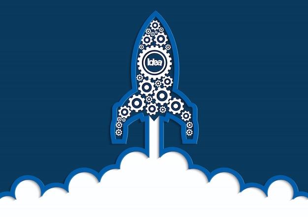 Lancement d'engins de la navette spatiale pour les débuts du ciel