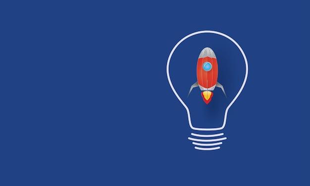 Lancement de la fusée de l'ampoule idée créative concept inspiration business