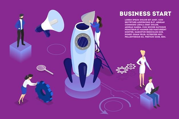 Lancement de fusée comme métaphore du démarrage. concept de développement des affaires. concept d'entrepreneuriat. les gens travaillent ensemble en entreprise. plat