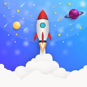 Lancement de fusée de concept illustration vectorielle