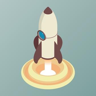 Lancement de fusée de dessin animé isométrique