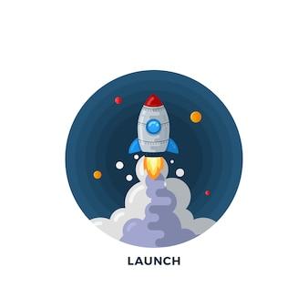 Lancement de fusée de dessin animé de style plat dans le modèle d'illustration de l'espace. symbole de la science. icône de démarrage.