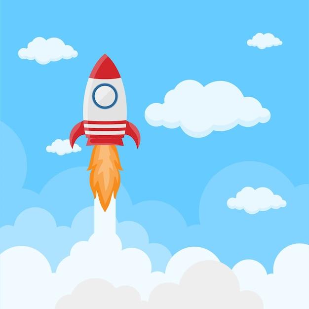 Lancement de fusée sur l'espace dans un style plat.