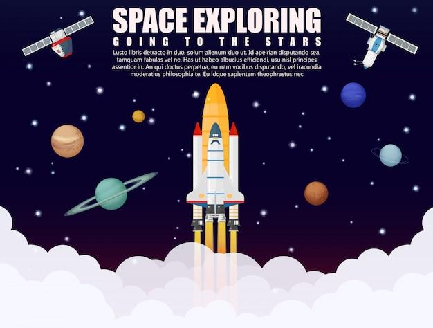Lancement de fusée de navire d'exploration de l'espace