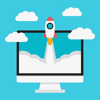 Lancement de la fusée et ordinateur