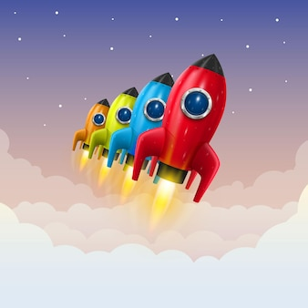 Lancement de fusée spatiale, idée créative, fond de fusée, illustration vectorielle