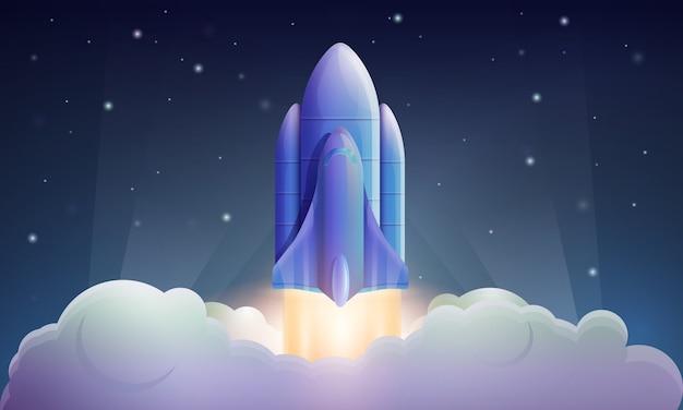 Lancement de fusée spatiale, illustration