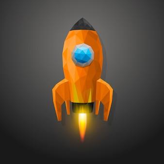 Lancement de fusée spatiale polygone 3d. illustration vectorielle