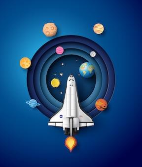Lancement et galaxie de fusées spatiales.